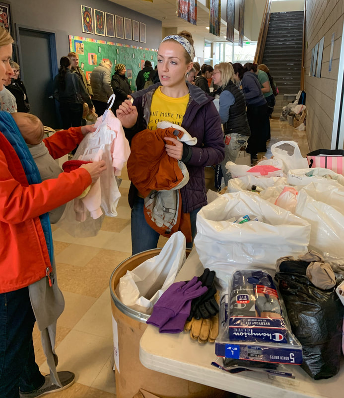Warm clothing and personal products donations area