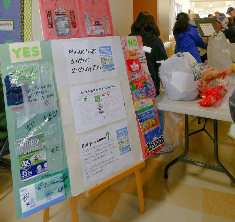Plastic bags and film recycling information board.