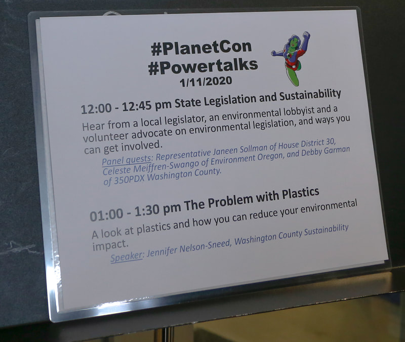 PlanetCon Powertalks agenda was displayed on music stands at the event.